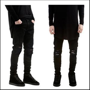 Marca europea Pure Black Bound Pies de elasticidad para hombres Hombres autocultivo Robin Jeans para hombres Rock Revival