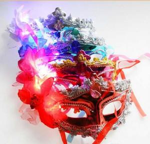 Mujeres Niñas Flash LED Iluminación Masquerade Wedding Party Flower Half Face Máscara de Flores Holloween Carnaval Festive Supplie Decor