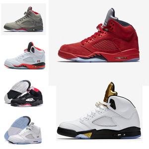 Yeni erkek basketbol ayakkabı sneaker 5 beyaz çimento siyah metalik kırmızı mavi süet Oreo sneakers Üzüm renk Oreo MODA eğitmen chaussure femme