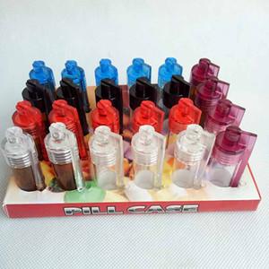 51mm / 36mm Acryl Plastikflasche Schnupftabak Snorter Spender Bullet Rocket Snorter Glasfläschchen Pillenetui Behälter Box mit Löffel mehrere Farben