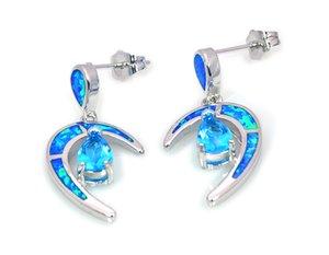 Vendita all'ingrosso al dettaglio di moda blu Fine Fire Opal Moon orecchini gioielli in argento 925 EF17083108