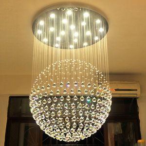 New Modern LED K9 Bola de Cristal Lustres de cristal grande lustre luzes lustres de sala de estar moderna GU10 rústica lustre de cristal