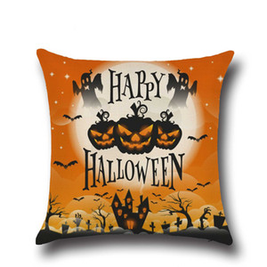 Happy Halloween Pillow Cases Pumpkin Square Linen Cover Party Festival Throw Pillow Cases Decorative 45*45 cm 2 pcs