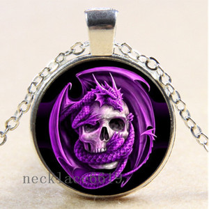 10pcs crâne dragon chaîne collier, cadeau d'anniversaire de Noël, collier en verre cabochon argent / bronze / noir pendentif de mode bijoux A-612