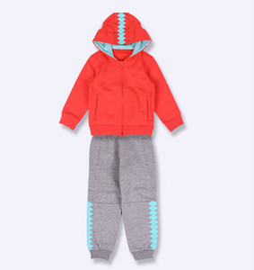 hot sell Clover A2017D Brand autumn and winter new children's sports plus velvet knit suit Boy girl kids clothes suit
