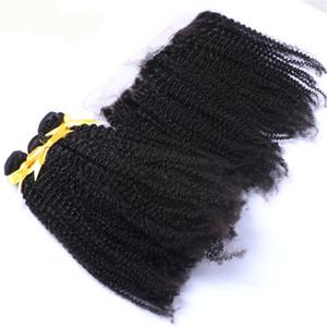 Бразильский афро вьющиеся волосы расширения с уха до уха кружева фронтальная свободный средний три части кудрявый вьющиеся волосы с фронтальной для афро-американских