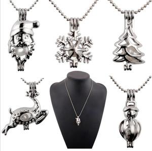 Nuova collana pendente a gabbia di perle con perle di ostriche Albero di natale pupazzo di neve cervo Santa Hollow Locket Clavicola catena di perle Gioielli collane