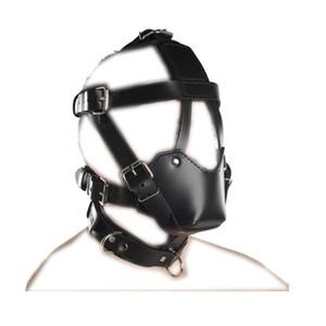 Nuevo diseño Bondage Hood BDSM Bondage Hocico Fetish Sex Play Toy Costume Might Leather Restraint Máscara Hebilla Arnés Ajustable B0306028