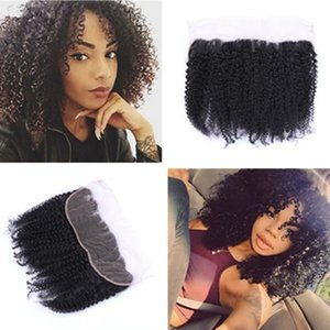 Mongolian Kinky Curly Lace Frontal cierre 13x4 Full Lace Frontal Closures Afro Kinky Curly Lace Frontals Parting gratis para mujer negra