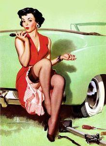 Gerahmte Autoprobleme, Reine handgemalte Gil Elvgren Pin-Up-Mädchen-Kunst-Ölgemälde Hauptwanddekor auf Qualitätssegeltuch, mehrfache Größe
