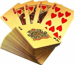 Hot Durável À Prova D 'Água De Plástico Jogando Cartas De Poker 24 K Folha De Ouro Banhado A Jogar Cartas De Poker Presentes De Natal Presentes de Natal Estilo Euro Dólar EUA