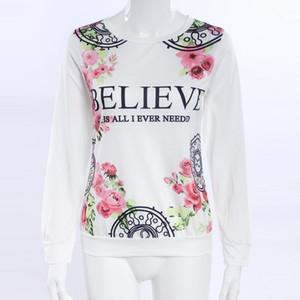 2 Цвет цветок женщина одежда свитер с длинным рукавом женщин белые футболки для жалости осень новый шаблон растениеводство топ 3D футболка свитер