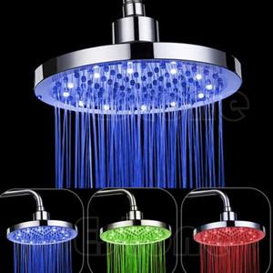 """8 """"pouce RGB LED lumière ronde pluie pommeau de douche de salle de bains Changement de couleur pommeau de douche RVB LED"""