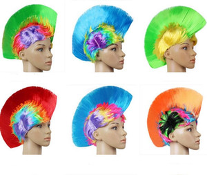 Rainbow led Mohawk Cheveux Perruques Mode Football Football Fans Punk Perruque Performance Cosplay Fête Clignotant Perruques Festival De Noël Flash Perruque