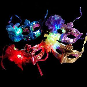 LED Halloween Party Маски флэш Светящиеся цветы маски Mardi Gras Masquerade Косплей Венецианские маски Хэллоуин костюмы партия подарков HH7-182