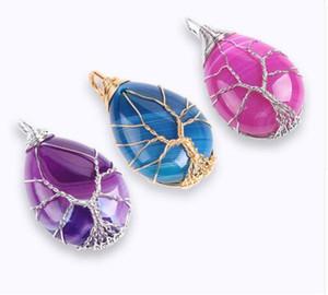 Мода Золотой Цвет Древо Жизни Wrap Water Drop Ожерелье Подвеска Рейки Натуральный Драгоценный Камень Фиолетовый Синий Жилы Оникс Ювелирные Изделия E806