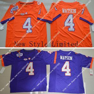 Date de gros pas cher Clemson Tigers 4 DeShaun Watson Orange Blanc Violet Broderie Logos Cousu Hommes Amérique Football Football Jersey