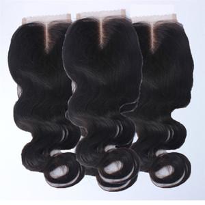 7A Pas Cher Peruvian Lace Fermeture Noeuds Blanchis Vierge Fermeture De Cheveux Humains 3.5 * 4 vague de corps Fermeture Dentelle Gratuit Moyen 3 Partie Fermeture