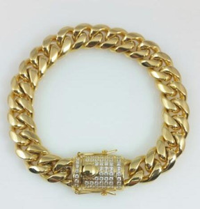 Men Yellow Gold Stainless Steel Lab Diamond Miami Cuban Chain Bracelets