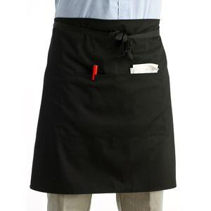 유니버설 유니섹스 키친 요리사 요리사 앞치마 요리사 제복 허리 앞치마 짧은 앞치마 웨이터 앞치마 더블 포켓 포함