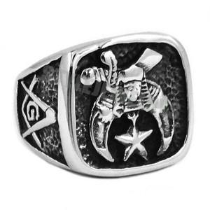 Бесплатная Доставка! Новый дизайн масонский байкер кольцо из нержавеющей стали ювелирные изделия масонство череп Луна Звезда мотор байкер мужчины кольцо SWR0409B