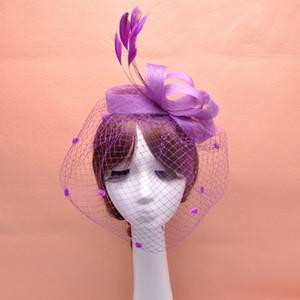 Tüy Fascinator Saç Aksesuarları Gelin Birdcage Peçe Şapka Düğün Şapka Ve Fascinators Ucuz Feminino Cabelo 4 Renkler