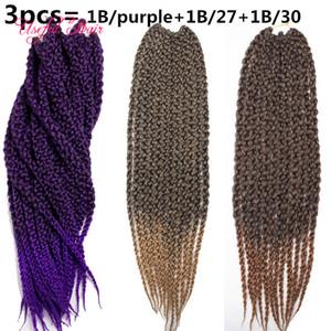 """красивые крючки для вязания бусин Рождественский подарок 22"""" 3D Cubic Twist вязания плетенки волос Ombre плетение волос Box плетенки скручиваются в пачках"""