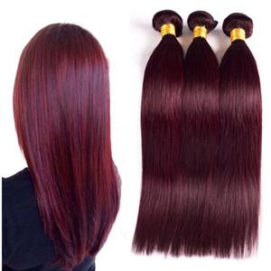 99J Brésilien Vin Rouge De Cheveux Humains Tisse Extensions 4 Pcs Lot Pure Color Brésilien Soyeux Droite Bourgogne Bundles De Cheveux Humains
