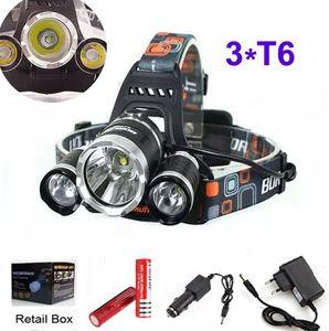 3T6 Scheinwerfer 6000 Lumen 3 x CREE XM-L T6 Kopflampe High Power LED Scheinwerferkopf Fackel Lampe Taschenlampe Kopf + Ladegerät + Batterie + Autoladegerät