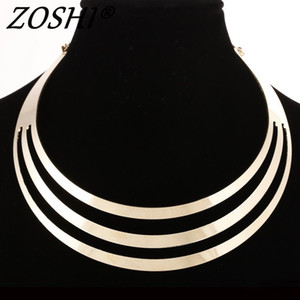 2016 Charm Choker Necklaces Women Gorgeous Metal Multi Layer Statement Bib Collar Necklace Fashion Jewelry Accessories Hot Sale