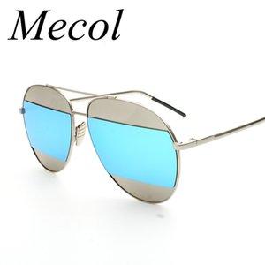 Wholesale-Mecol Fashion Patchwork Mirror Sunglasses Women Brand Designer Horizontal Stripes Double Divide Lens gafas De Sol Hombre R056