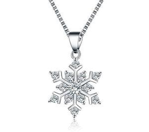 925 copos de nieve de plata collar colgante con los collares de cristal collar de encanto de moda regalo de navidad joyería declaración 383