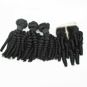 Peruvian Aunty Funmi Human Hair With 4*4 Lace Closure Romance Curls Funmi Hair 3Bundles With Closure 4Pcs Lot Peruvian Hair With Closure