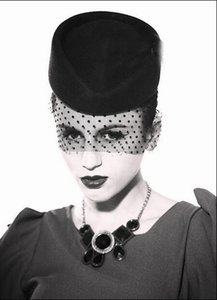 Claasic Black England Women Evening Party Hats 2017-2018 Popular Pure Wool Hats