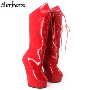 Sorbern لامعة بو الأحذية الركبة عالية المتطرفة 20CM الكعب العالي stange ستليي كعب Heelless الأحذية مرة أخرى الرمز البريدي الدانتيل متابعة مثير صنم المهر منصة الأحذية