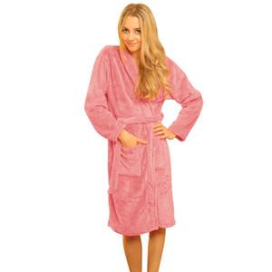 Wholesale- New Women Autumn and winter flannel pajamas Coral Fleece Long Night-robe Sleepwear Shawl Collar Bathrobe Spa Robes