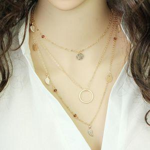 Fashion Multi Layer Leaf Chain Necklaces Jewelry for Women Bohemian Blue Stone Choker Chain Jewellery Gargantilha
