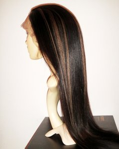 Brazilian virgin human hair full lace wigs for black women #1b 30 Highlight color straight Full Lace wigs with baby hair
