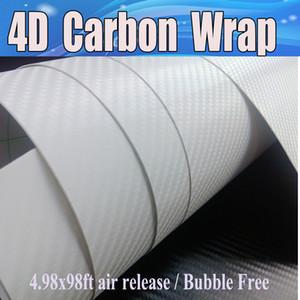 Vinil branco da fibra do carbono 4D como o filme realístico da fibra do carbono para o envoltório do carro com bolha de ar livre que cobre Tamanho 1.52x30m 4.98x98ft