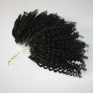 CE certificated kinky Jerry Curly Micro Ring Hair Extensions 400s lot Kinky Curly Loop Hair Natural Color Loop Hair