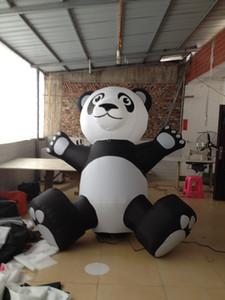 Frete grátis gigante bonito em pé branco e preto agradável inflável panda balão para promoção, decoração do partido