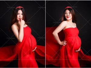 Шумер Стиль Красный Материнства Изящные Макси Длинное Платье Мода Tube Top Dress для Беременных Женщин Фотографии Реквизит Baby Shower GIft