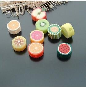 Bilezik Kolye Yapımı İçin 100 ADET Karışık Renk Polimer Kil DIY Meyve Dilim Boncuk 10mm Reçine Boncuk Yuvarlak Boncuk