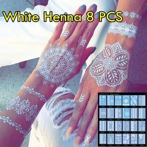 8pcs / lot الحناء الوشم الأبيض غير سامة الوشم المؤقت مترف هيئة المجوهرات الوشم! تتجه زفاف جديد الحناء الوشم!