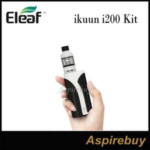 Eleaf ikuun i200 Kit 200W iKuun Box Mod con 2ML / 4ML Eleaf Melo 4 D22 D25 Serbatoio incorporato 4600mAh Funzione di preriscaldamento batteria 100% originale