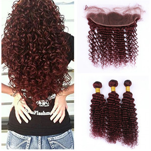 #99J Wine Red Lace Frontal Closure With Bundles 9A Malaysian Deep Wave Curly Human Hair Wefts With 13x4 Ear to Ear Full Frontal