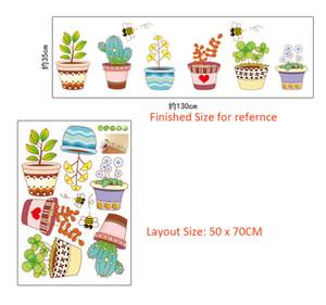 Cartone animato fiori in vaso Adesivo Adesivo Vaso di fiori verde Api Farfalla Wall Art Murale Poster fai da te Bonsai Wall Paper Wall Border Stickers