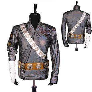 Оптово Редкие ручной работы MJ Майкл Джексон BAD Dangerous Jam Jacket Laser Belt Set Performance Gift Имитация Show Music Star Collection