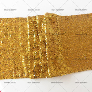 Custom made 20PCS Wedding 30cm*275cm Table Runners Gold Sequin Table Cloth For Wedding Beaded