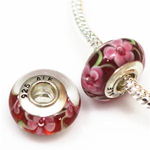 10 pcs DIY acessórios de jóias 925 ALE rosca de prata banhado núcleo murano contas de vidro grande buraco Encantos Bead Para Pulseiras colares ZHZP001